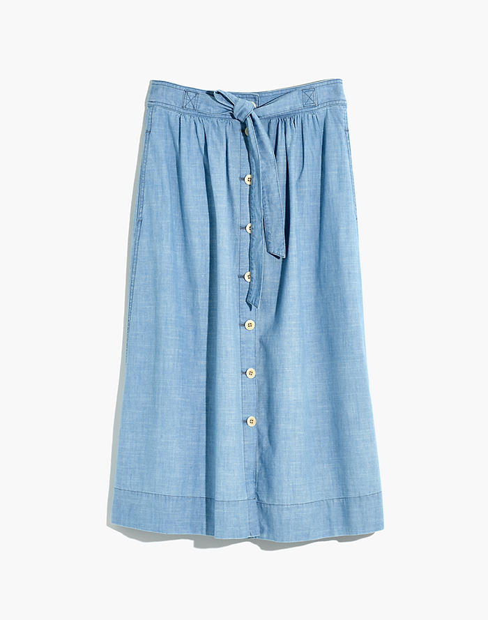 b86d4039b4aa Tie Palisade Button-Front Midi Skirt in Chambray