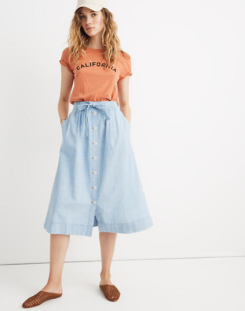 fe2a985fad Tie Palisade Button-Front Midi Skirt in Chambray in pale indigo image 1