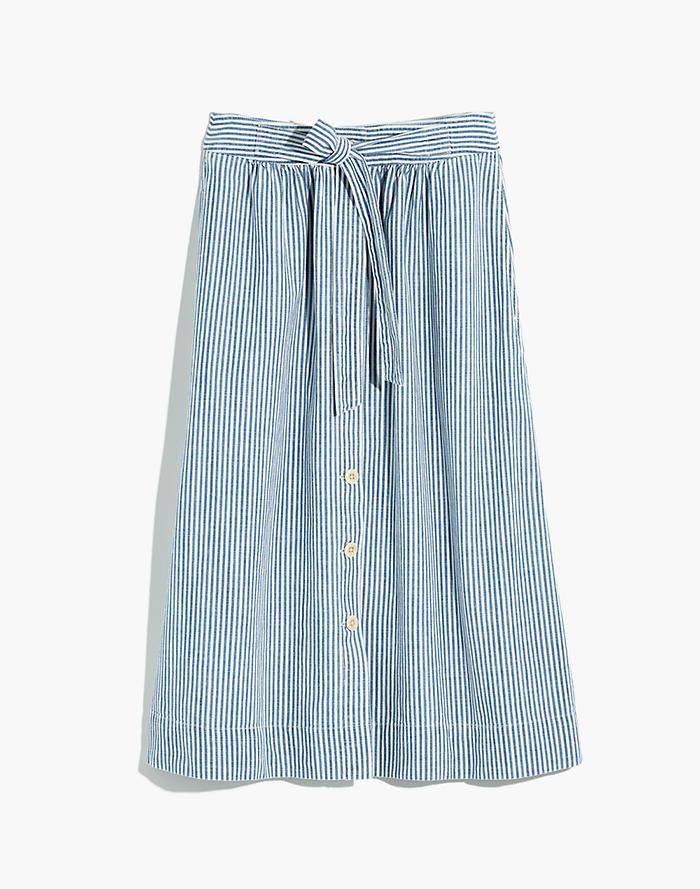 6b434e42e4 Tie Palisade Button-Front Midi Skirt in Pilar Stripe