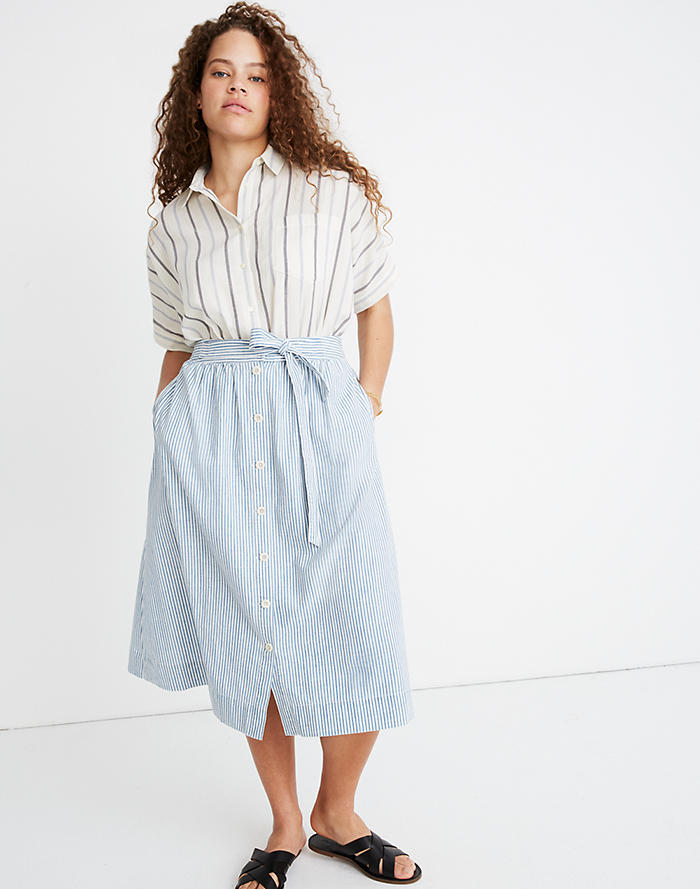ac6c48a7f3 Tie Palisade Button-Front Midi Skirt in Pilar Stripe