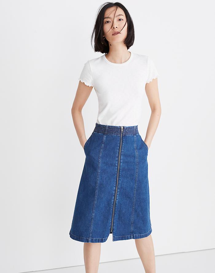 a28ae6a5c7 Rigid Denim Zip Midi Skirt in Farley Wash