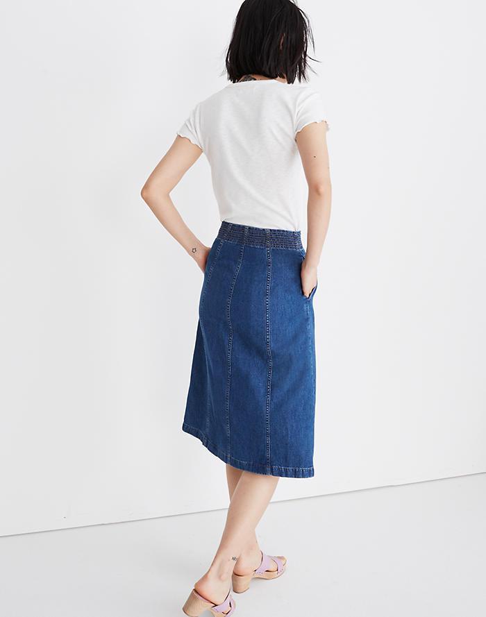 d4e7c7006e Rigid Denim Zip Midi Skirt in Farley Wash
