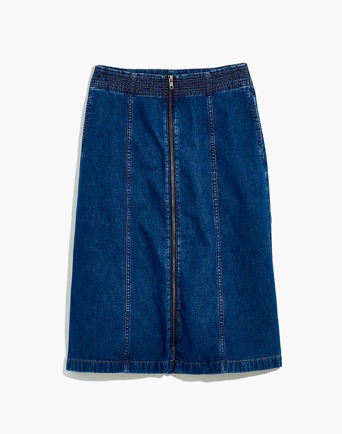 4ba0f1d499 Rigid Denim Zip Midi Skirt in Farley Wash