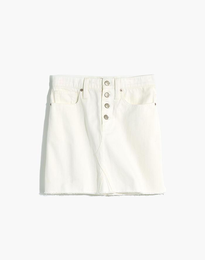 bd9b6225a445 Rigid Denim A-Line Mini Skirt in Tile White: Button-Front Edition