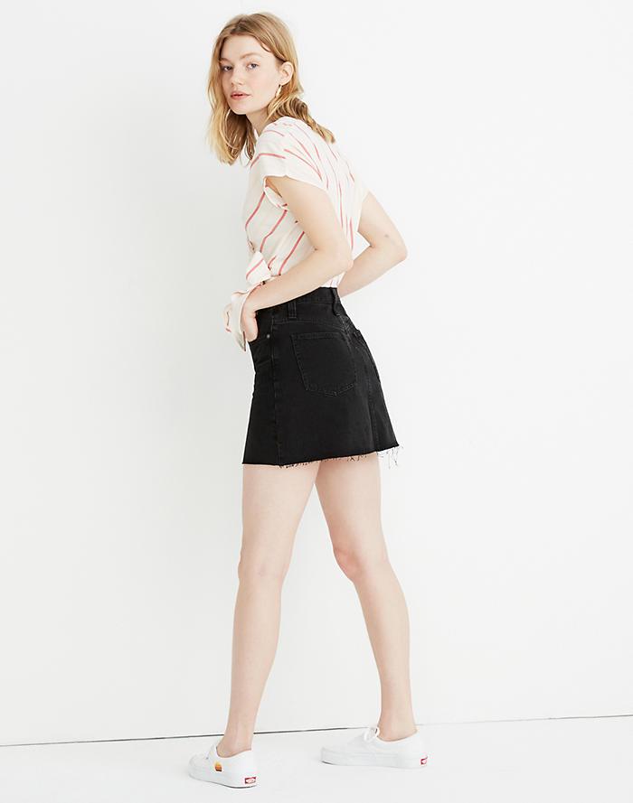 b85c46d22ce8 Rigid Denim A-Line Mini Skirt in Lunar Wash  Button-Front Edition