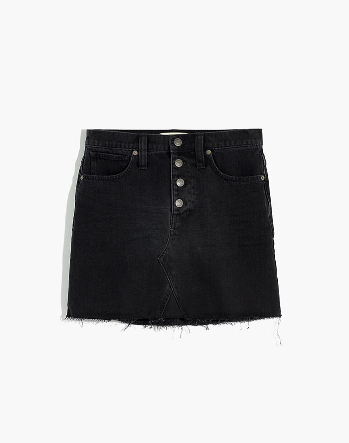1cb833d0f Rigid Denim A-Line Mini Skirt in Lunar Wash: Button-Front Edition