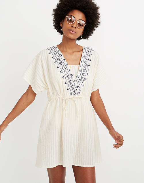 6e990f1d595bd Embroidered Tie-Back Cover-Up Dress in pearl ivory image 2