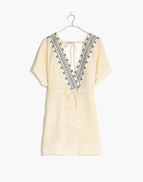 7918ce4584ef6 Embroidered Tie-Back Cover-Up Dress in pearl ivory image 4