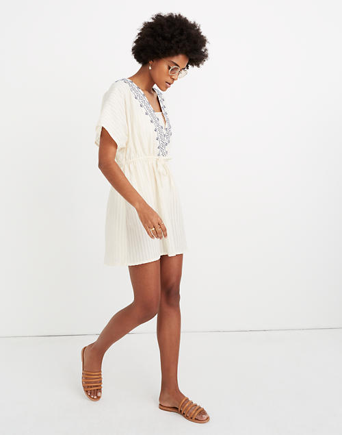 c8b8a82ee9bdf Embroidered Tie-Back Cover-Up Dress in pearl ivory image 1