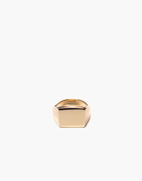 Charlotte Cauwe Studio Brass Delicate Signet Ring in gold image 2