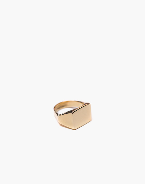 Charlotte Cauwe Studio Brass Delicate Signet Ring in gold image 1