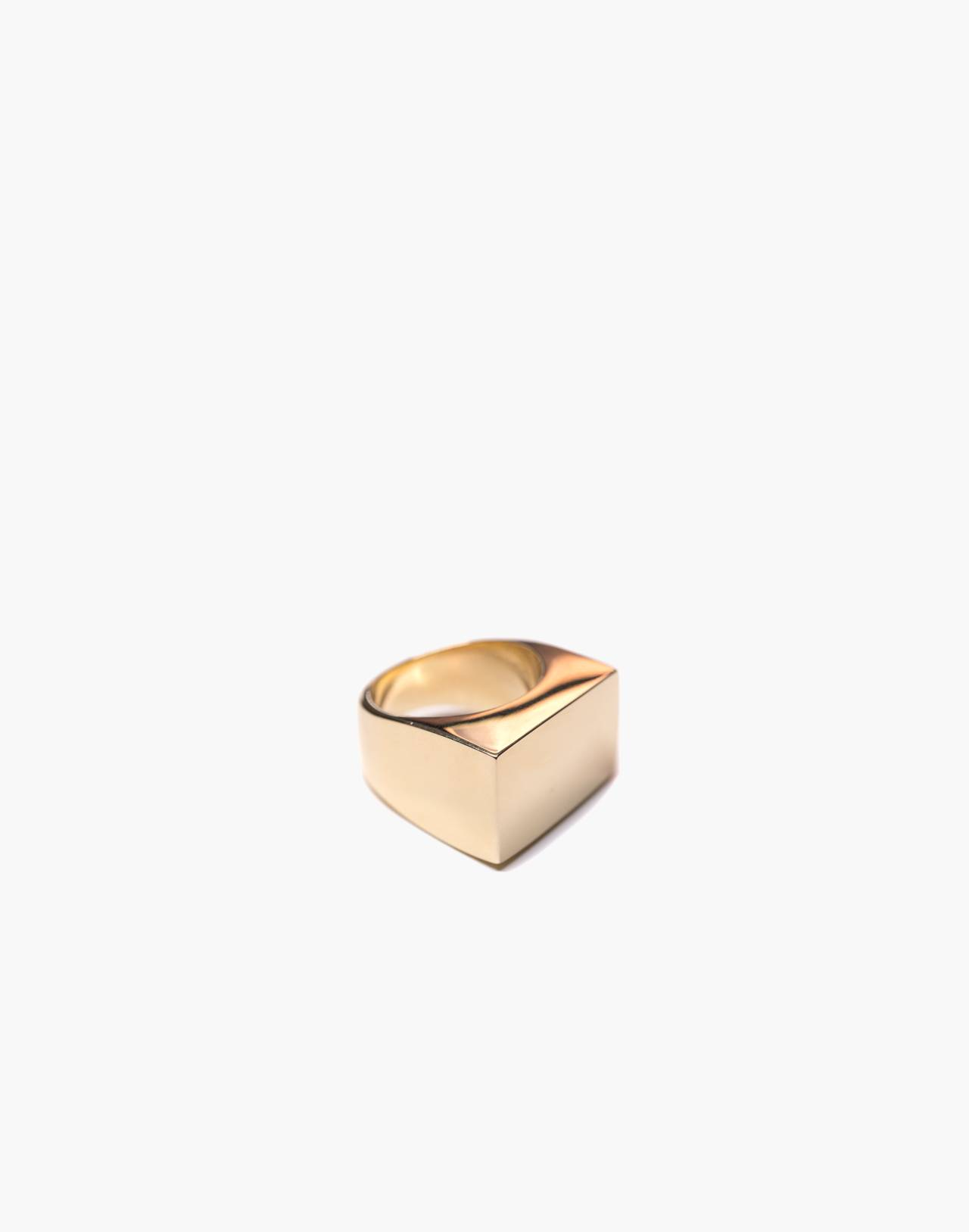 Charlotte Cauwe Studio Brass Large Modern Signet Ring in gold image 1
