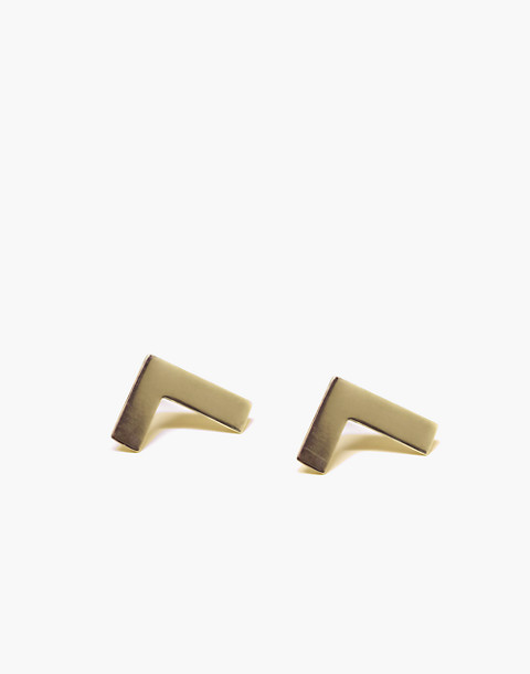Charlotte Cauwe Studio 14k Gold-Plated Right Angle Stud Earrings in gold image 1