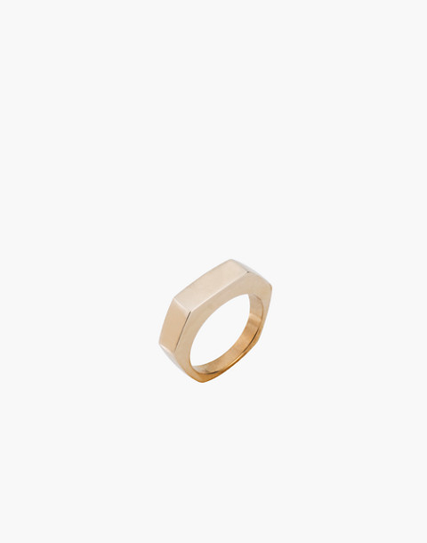 Charlotte Cauwe Studio Brass Slim Hex Ring in gold image 1