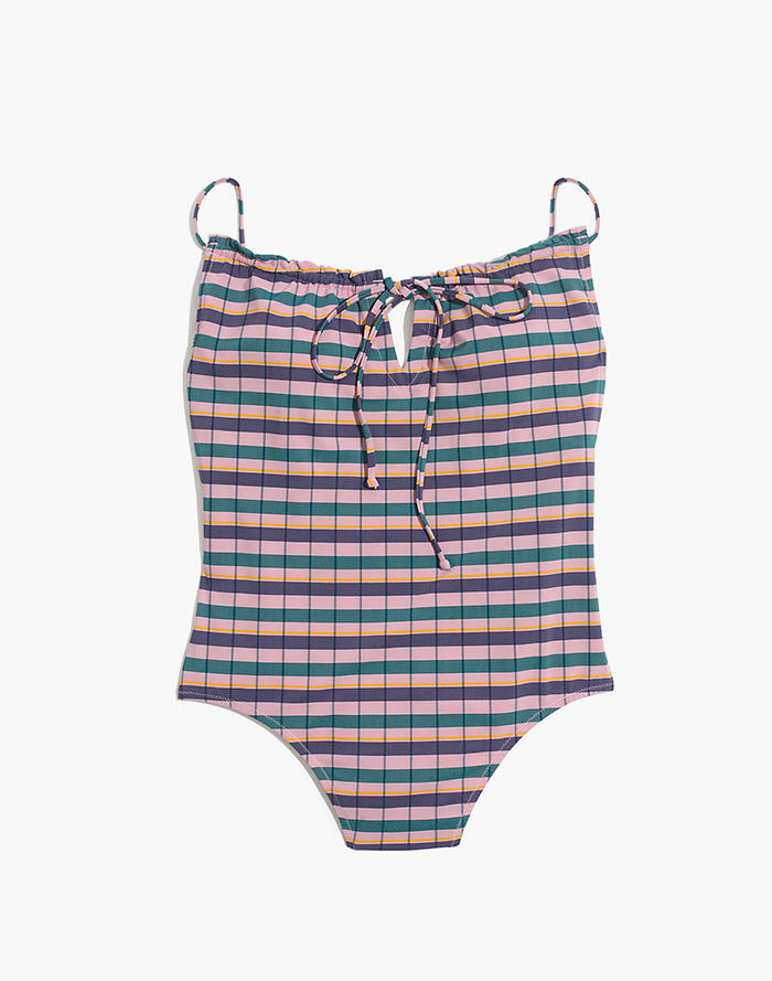 8a7569f6cd456 Madewell Second Wave Ruffled Drawstring One-Piece Swimsuit in Plaid