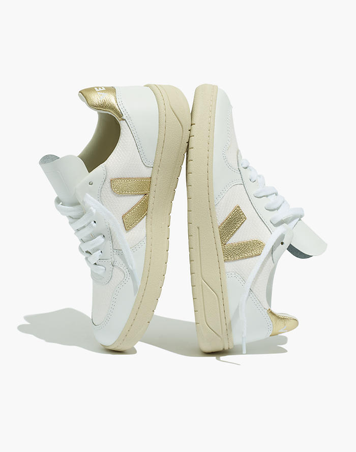 d94abbc956db3b Veja™ V-10 Lace-Up Sneakers in White with Gold Accents