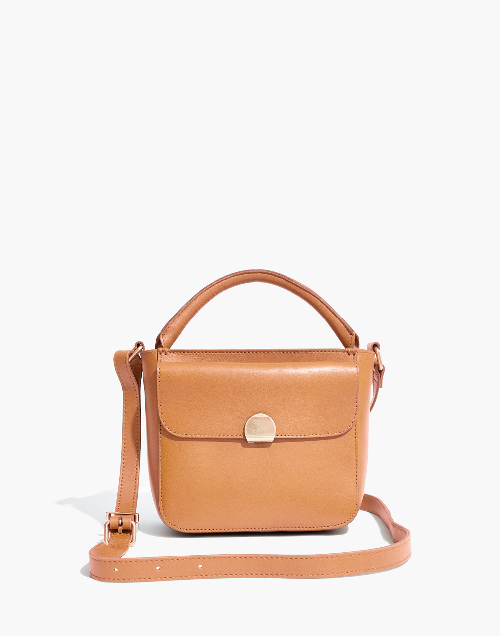 The Mini Abroad Crossbody Bag in desert camel image 1