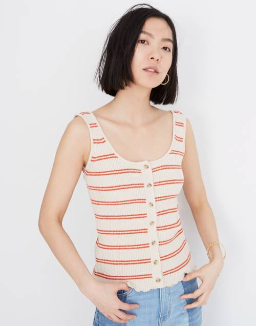 Kingston Button Front Sweater Tank In Stripe by Madewell