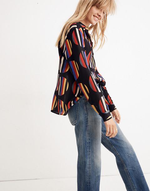 WHIT® Silk Dada Shirt in Camera Stripe Dot in black multi image 2
