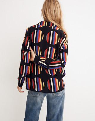 WHIT® Silk Dada Shirt in Camera Stripe Dot in black multi image 3