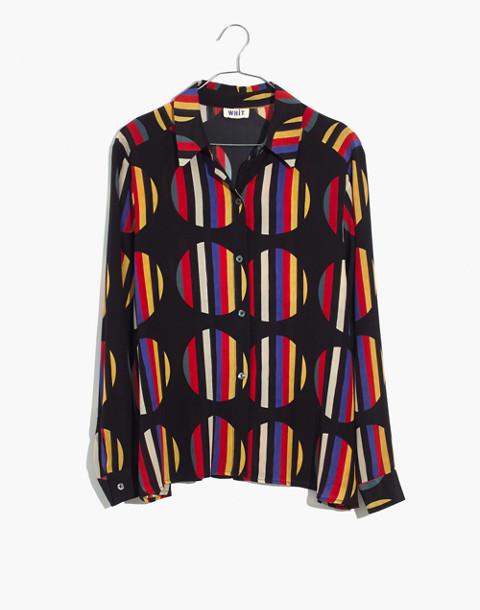 WHIT® Silk Dada Shirt in Camera Stripe Dot in black multi image 4