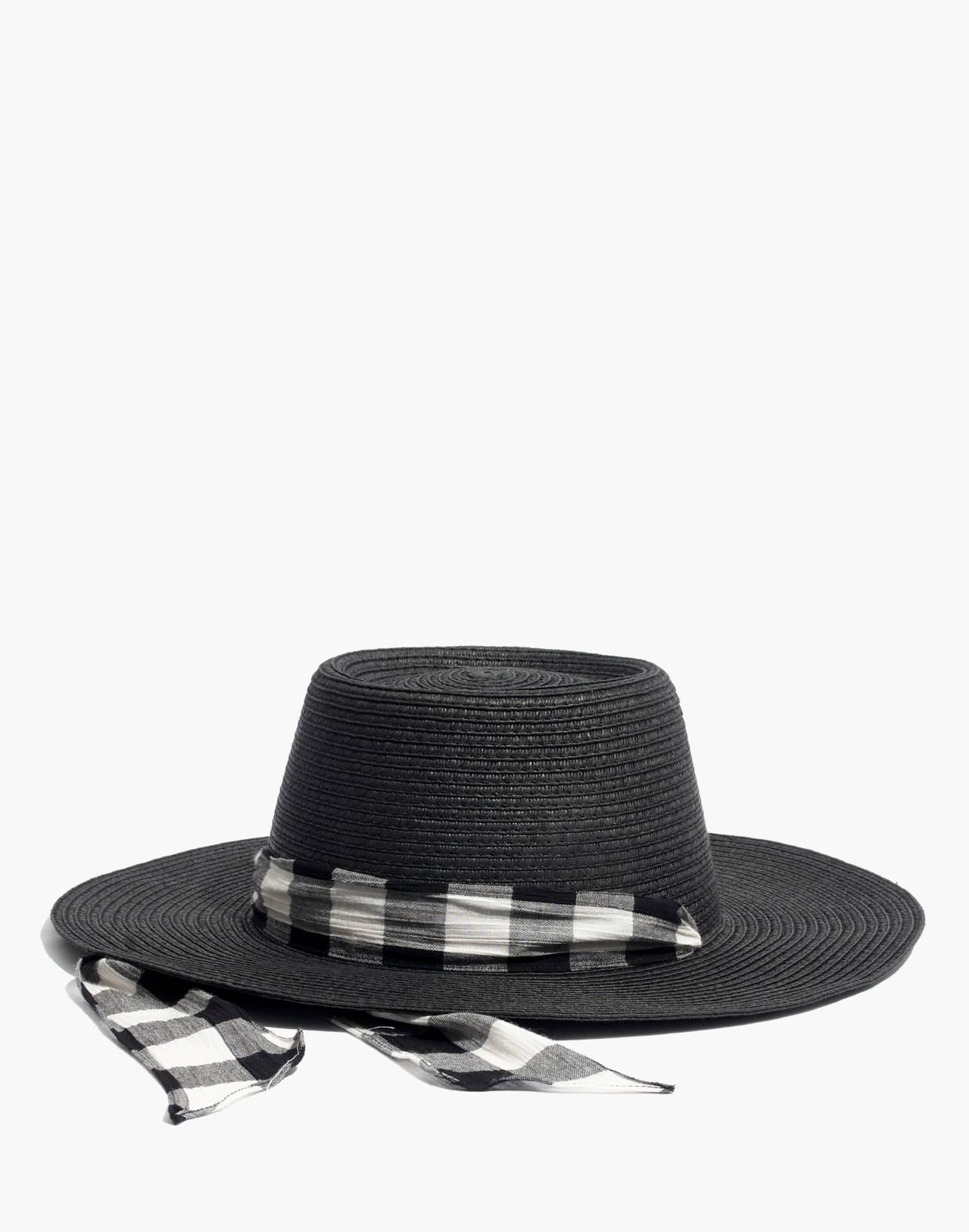 Stampede-Strap Straw Boater Hat in true black straw image 1