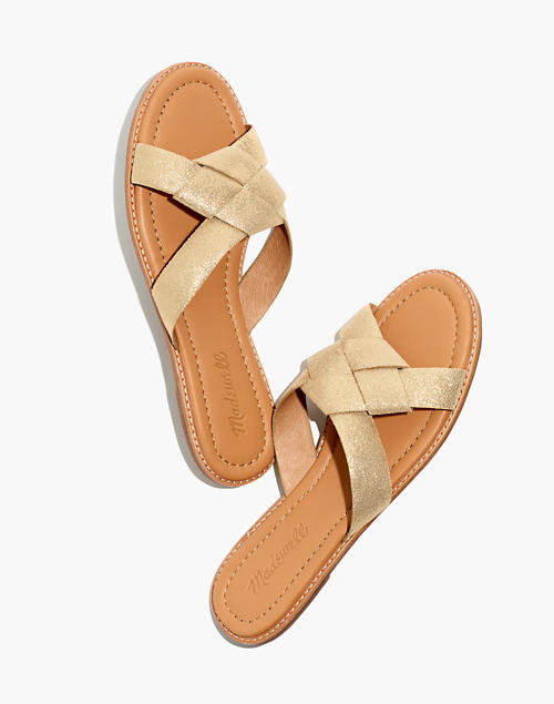 The Jamie Knotted Slide Sandal In Golden Metallic by Madewell