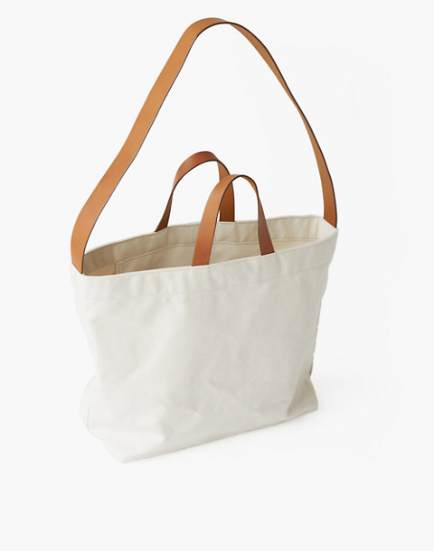 MAKR Canvas and Leather Sling Tote Bag in white image 2