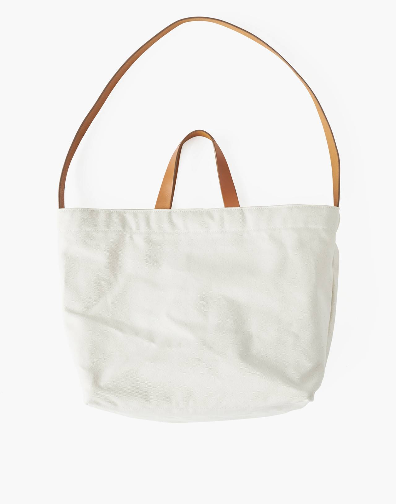 MAKR Canvas and Leather Sling Tote Bag in white image 1
