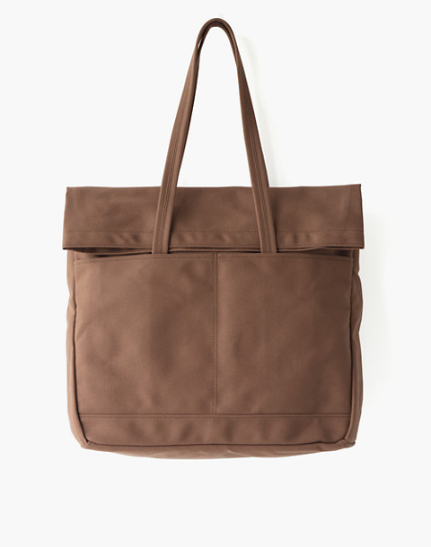 MAKR Canvas and Leather Fold Weekender Bag in brown image 1