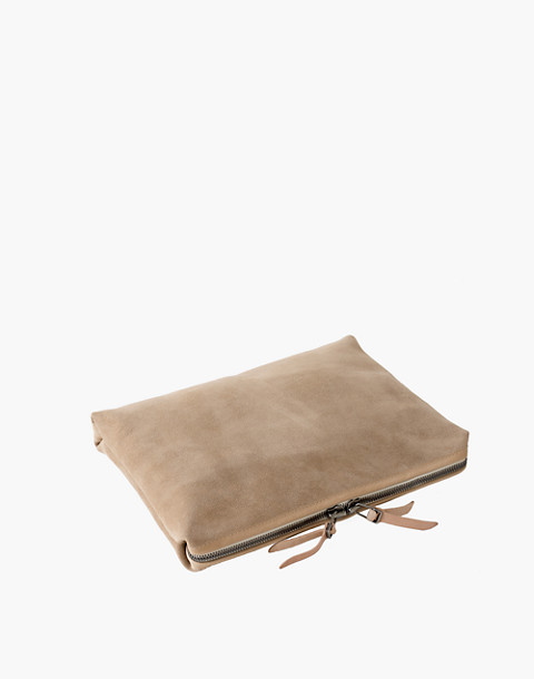 MAKR Large Suede Organizer Pouch in natural image 2