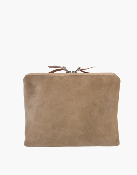 MAKR Large Suede Organizer Pouch in natural image 1