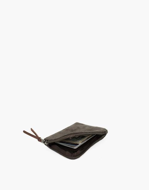 MAKR Suede Zip Slim Wallet in green image 2