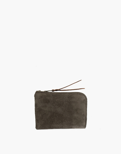 MAKR Suede Zip Slim Wallet in green image 1