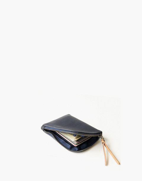 MAKR Leather Zip Luxe Wallet in navy image 2