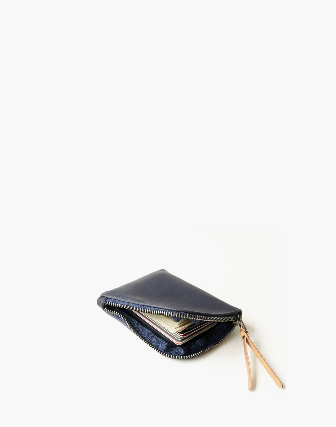 MAKR Leather Zip Luxe Wallet in navy image 2