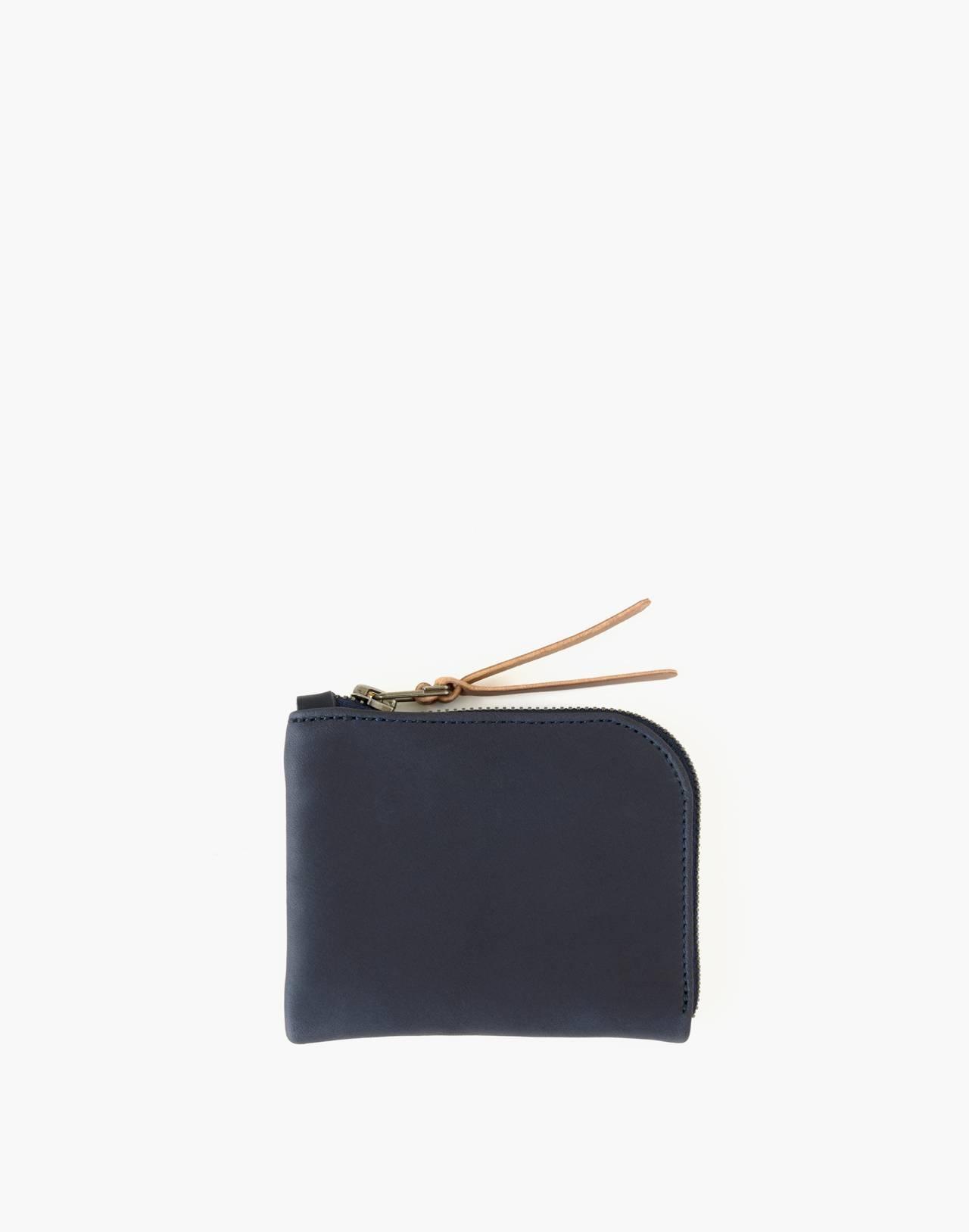 MAKR Leather Zip Luxe Wallet in navy image 1
