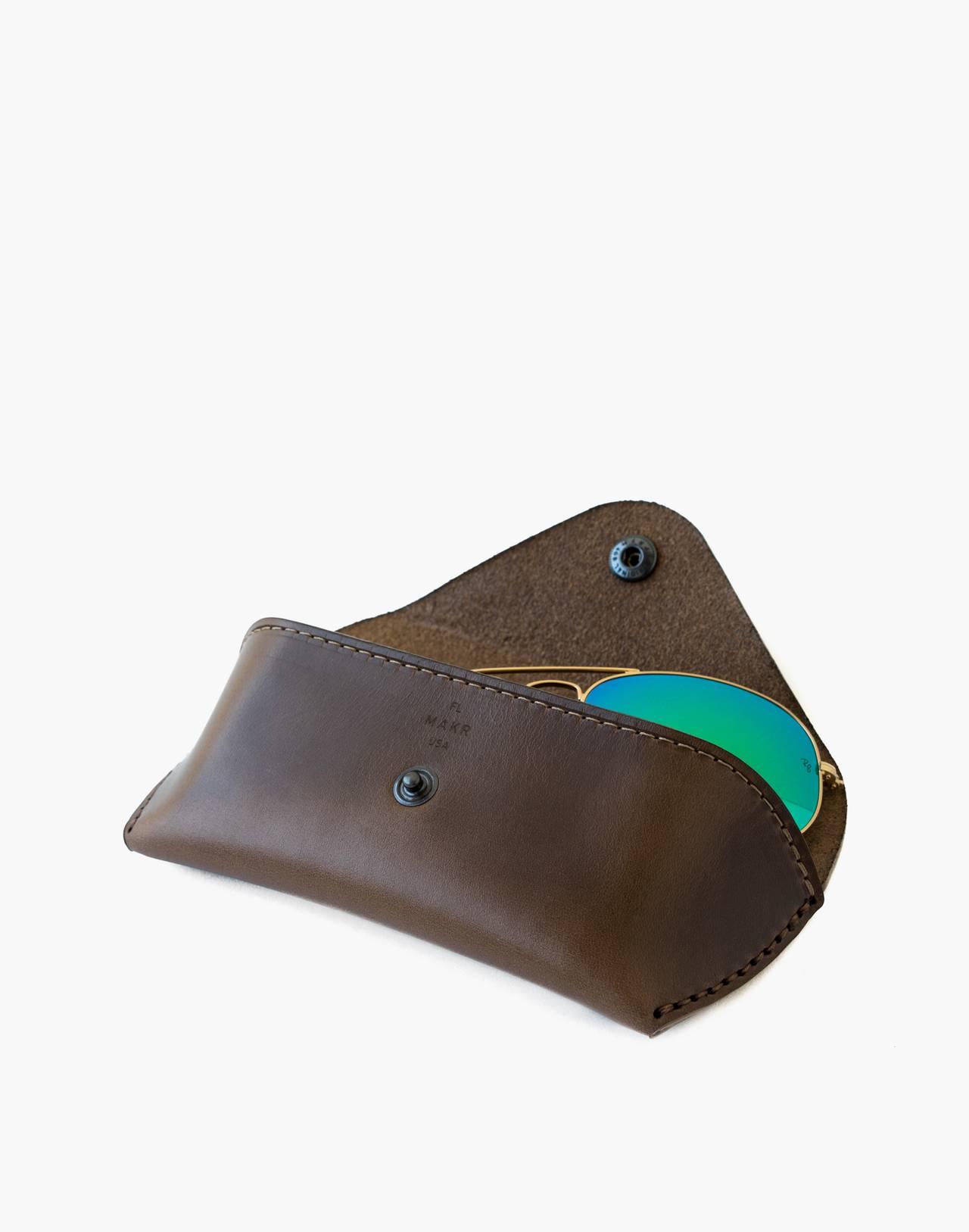 MAKR Leather Eyewear Sleeve in brown image 2