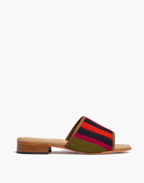 Artemis Design Co. Kilim Sandals in orange/green multi stripe image 2