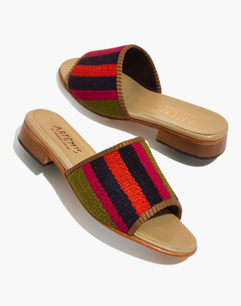 Artemis Design Co. Kilim Sandals in orange/green multi stripe image 1