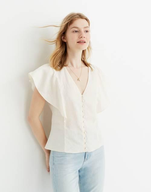 Linen Carmelina Flutter Sleeve Top by Madewell