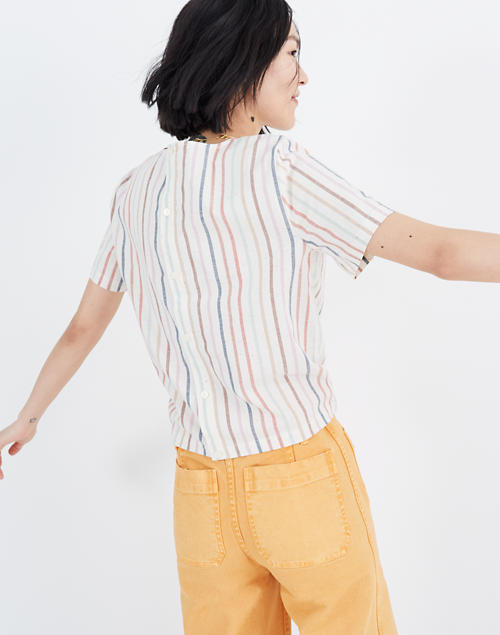 9ae29d6777 Button-Back Tie Tee in Rainbow Stripe in nebs stripe pearl ivory image 3