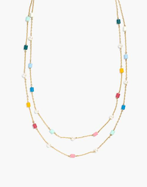 Beaded Faux Pearl Layered Necklace by Madewell