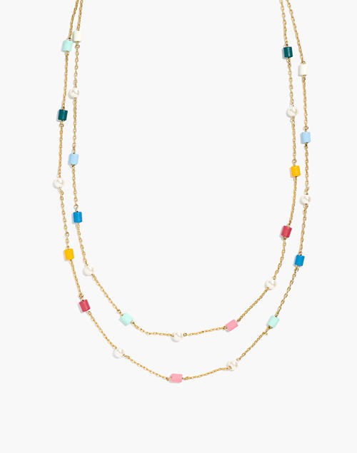 beaded-faux-pearl-layered-necklace by madewell