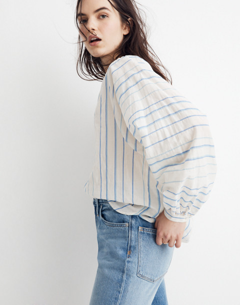 Peasant Top in Stripe in pale parchment jessie image 2