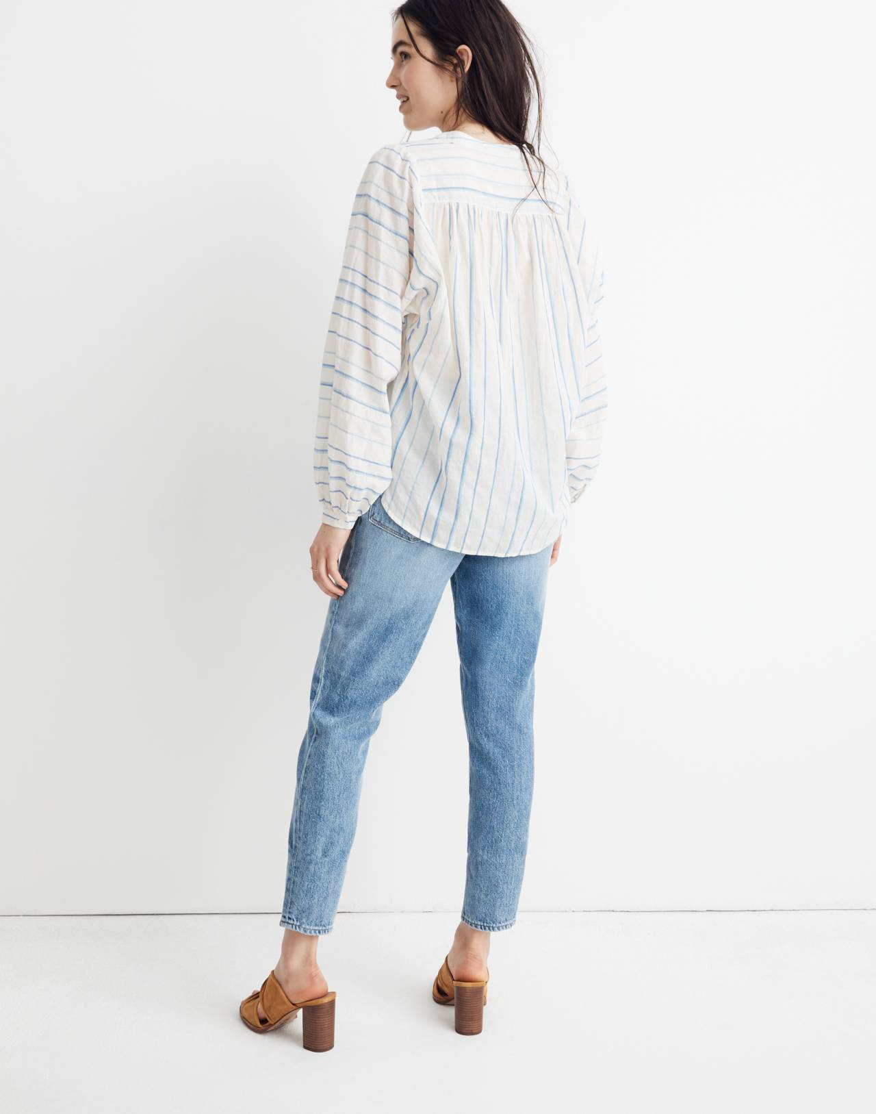 Peasant Top in Stripe in pale parchment jessie image 3