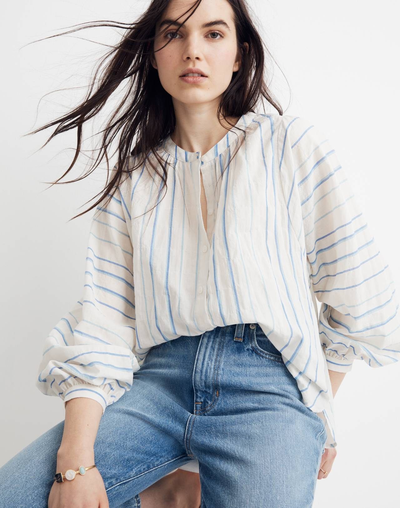 Peasant Top in Stripe in pale parchment jessie image 1