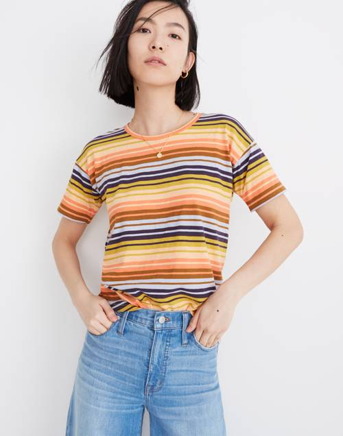 Whisper Cotton Crewneck Tee In Clearwater Stripe by Madewell