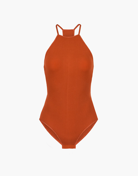 LIVELY™ Seamless High-Neck Bodysuit in orange image 3