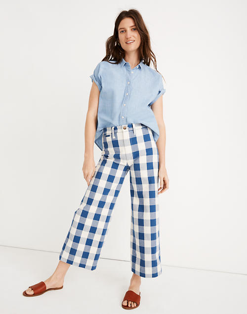 a818a087e6b Emmett Wide Leg Crop Pants In Gingham Check by Madewell